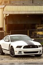 미리보기 iPhone 배경 화면 포드 머스탱 보스 302 흰색 검은 차
