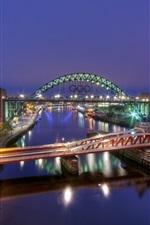 Preview iPhone wallpaper Gateshead, England, river, bridge, night city, buildings