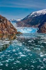 Preview iPhone wallpaper Glacier Bay National Park, Alaska, mountains, glaciers, ice, river