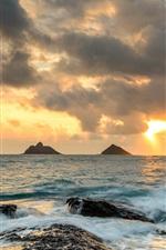 Preview iPhone wallpaper Hawaii, ocean, rocks, sunrise, waves