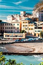 미리보기 iPhone 배경 화면 이탈리아, 친퀘 테레 (Cinque Terre), 해안, 바다, 집, 나무, 독, 보트