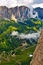 Preview iPhone wallpaper Italy, South Tyrol, Alps, mountains, sky, clouds, rocks, people