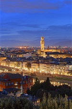 Preview iPhone wallpaper Italy, Tuscany, Florence, night, house, evening, dusk, lights