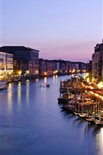 Preview iPhone wallpaper Italy, Venice, Canal Grande, evening, dusk, houses, sea, boats, lights