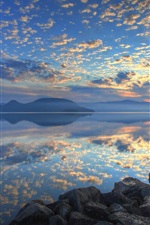 Preview iPhone wallpaper Lake Toya, Hokkaido, Japan, sunrise, clouds