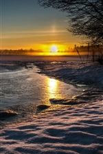 Preview iPhone wallpaper Lake, nature landscape, winter, snow, water, evening, sunset