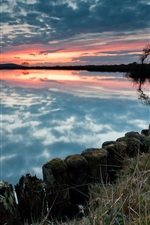 Preview iPhone wallpaper Lake, sunset, sky, clouds, trees, blue