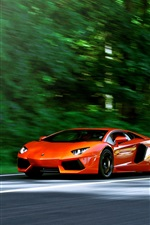Preview iPhone wallpaper Lamborghini Aventador LP700-4 orange supercar in road
