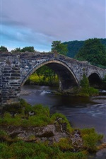 Preview iPhone wallpaper Llanrwst Bridge, Wales, England, River Conwy, house, dusk