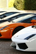 Preview iPhone wallpaper Many Lamborghini Gallardo supercar, front view