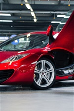 Preview iPhone wallpaper McLaren MP4-12C red car, parking, lighting