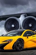 iPhone fondos de pantalla Supercoche McLaren P1 amarillo en el aeródromo