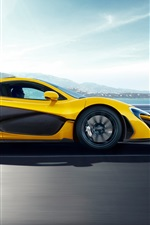 Preview iPhone wallpaper McLaren P1 yellow car side view