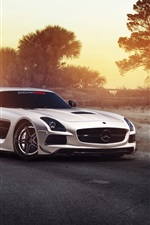 Preview iPhone wallpaper Mercedes-Benz SLS white car in the morning