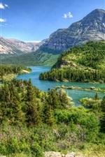 Montana, USA, park, trees, mountains, river, clouds