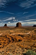Preview iPhone wallpaper Monument Valley, USA, sky, clouds, desert