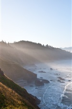 Preview iPhone wallpaper Morning coast, mountains, trees, sea, fog, sunlight