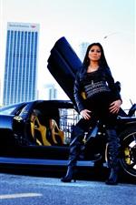 미리보기 iPhone 배경 화면 소녀 Mosler 랩터 GTR 블랙 초차