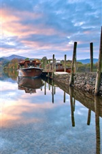 Preview iPhone wallpaper Nature landscape, morning, boats, lake, sky, clouds, autumn