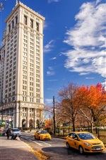 New York, Manhattan, USA, road, street, buildings, autumn, sky, clouds