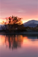 Preview iPhone wallpaper New Zealand, sunrise, house, lake, mountains, trees, red sky