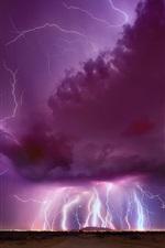 Preview iPhone wallpaper Night, evening, thunder, lightning, purple sky, clouds, Arizona