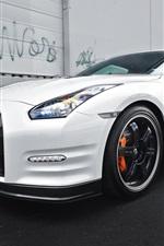 Nissan GTR R35 white car side view