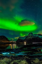 Preview iPhone wallpaper Norway, Lofoten Islands, mountains, winter, night, northern lights