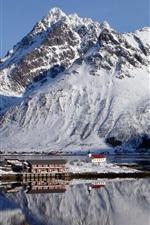 Preview iPhone wallpaper Norway, Lofoten, mountains, snow, winter, bay, house