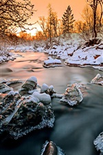 Preview iPhone wallpaper Norway, forest, trees, river, snow, ice, winter, sunset