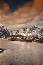 Preview iPhone wallpaper Norway, mountains, bay, village, winter, dusk
