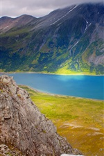 Preview iPhone wallpaper Norway, mountains, sea, clouds, morning