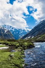 미리보기 iPhone 배경 화면 노르웨이, 강, 산, 구름