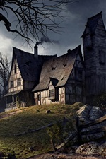 Preview iPhone wallpaper Old house, Halloween, road, fence, trees, mountains