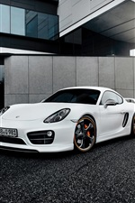 Preview iPhone wallpaper Porsche Cayman white supercar front view