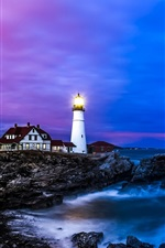 Preview iPhone wallpaper Portland lighthouse, houses, coast, sea, dusk, blue