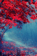 Preview iPhone wallpaper Red leaves forest, road, trees, autumn, mist, trail