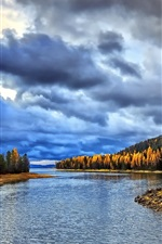 Preview iPhone wallpaper River, forest, clouds, morning, autumn