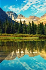 Preview iPhone wallpaper Rocky Mountains, Glacier National Park, lake, forest, water reflection