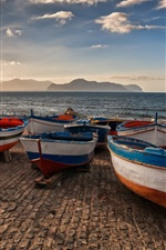 Preview iPhone wallpaper Sicily, Italy, lake, pier, boats, mountains
