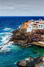 Preview iPhone wallpaper Spain, Canary Islands, ocean, rocks, cliffs, coast, houses, buildings