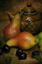 Still life, pears, cherries, grapes, tea