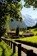 Preview iPhone wallpaper Switzerland, Lauterbrunnen, Jungfrau, city, mountains, the Alps