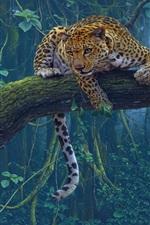 Preview iPhone wallpaper Tropical animals, jaguar, predator, tree