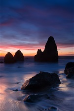 Preview iPhone wallpaper USA, California, ocean, coast, stones, evening, sunset