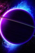 Universe, nebula, planet, ring, light, purple blue color