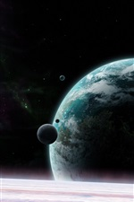 Preview iPhone wallpaper Universe, planet, satellite, stars
