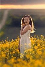 Preview iPhone wallpaper White dress girl, golden canola flowers
