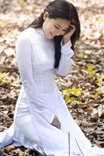 Preview iPhone wallpaper White dress girl smile, autumn, leaves