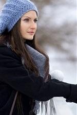 Winter beautiful girl, blue hat